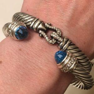 David Yurman 7mm .5tcw Diamond Blue Topaz Bracelet